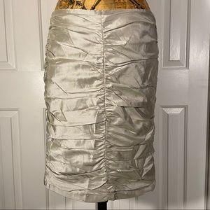 Armani Collezioni 100% Silk Silver Rouched Skirt